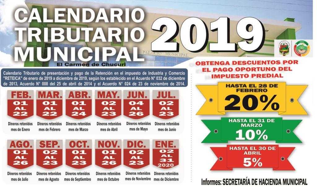 Calendario Impuestos 2020.Calendario Tributario 2019 Reteica Predial Industria Y Comercio